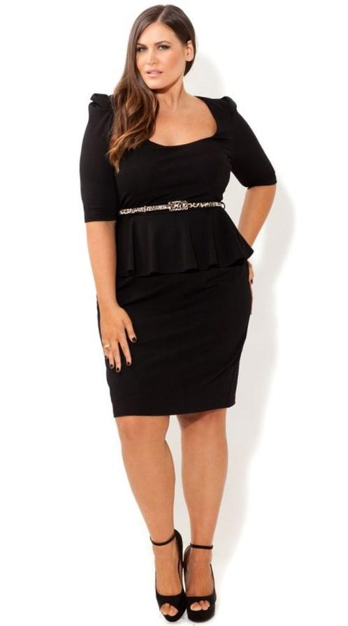 PLUS SIZE LONG SLEEVE PEPLUM DRESS
