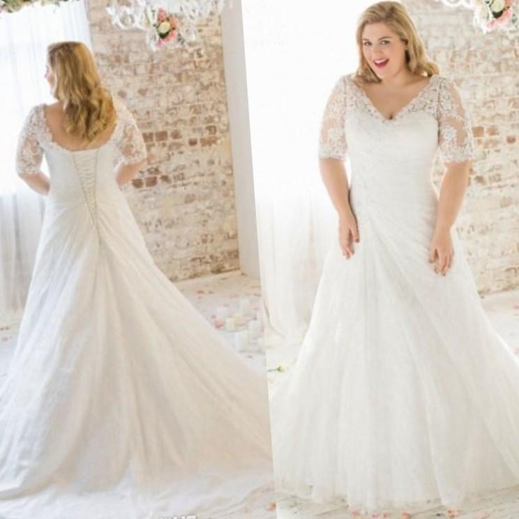 Plus size modest wedding dress collection for Plus size wedding dresses with color and sleeves