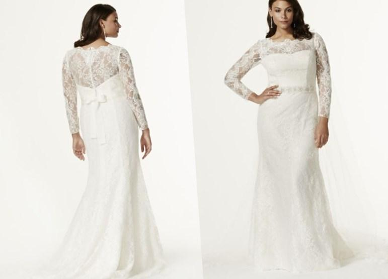 Plus size lace wedding dress with sleeves for Plus size trumpet wedding dress with sleeves
