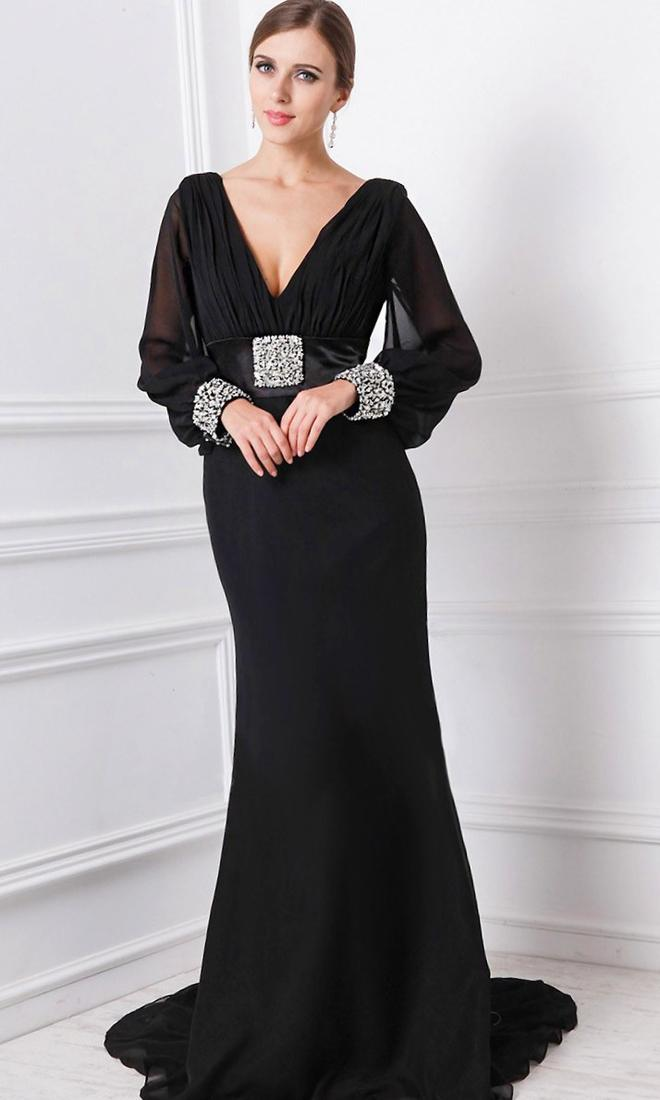Plus Size Long Sleeve Prom Dresses V Neck With Beaded Crystal Sexy Black Long Mermaid Prom