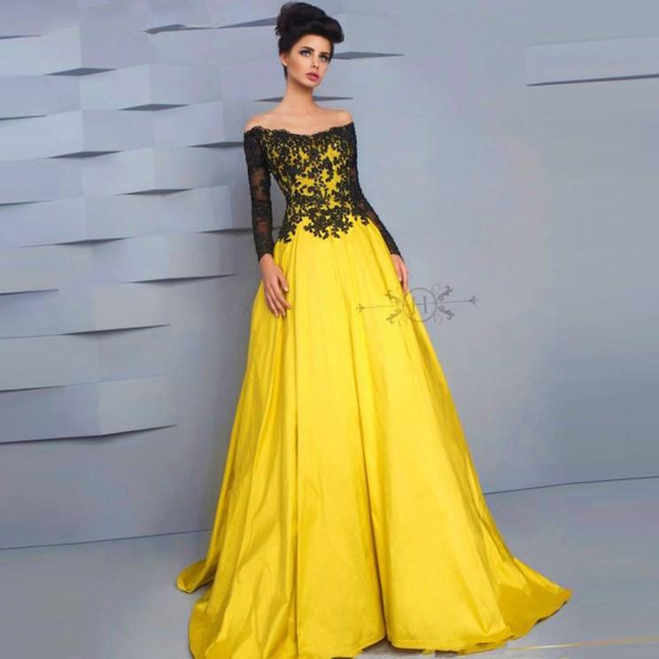 HotSale blackyellow boat neck long sleeve appliques ball gown evening dresses long prom dresses plus size