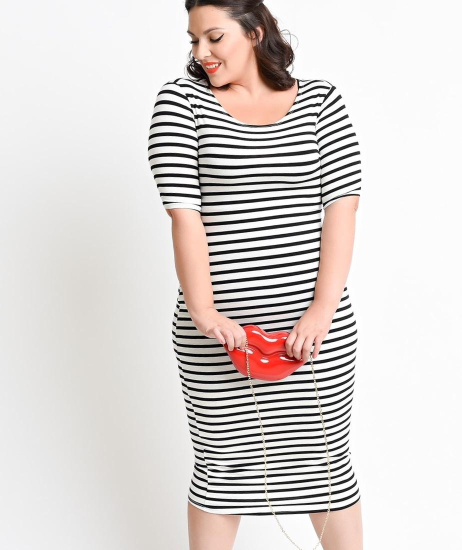 Plus size black and white striped dress - PlusLook.eu Collection