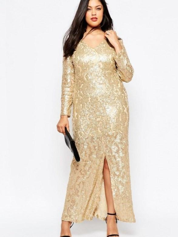 Fabulouss by Mac Duggal 4138 Dazzling Gold Sequin Plus Size Prom Gown