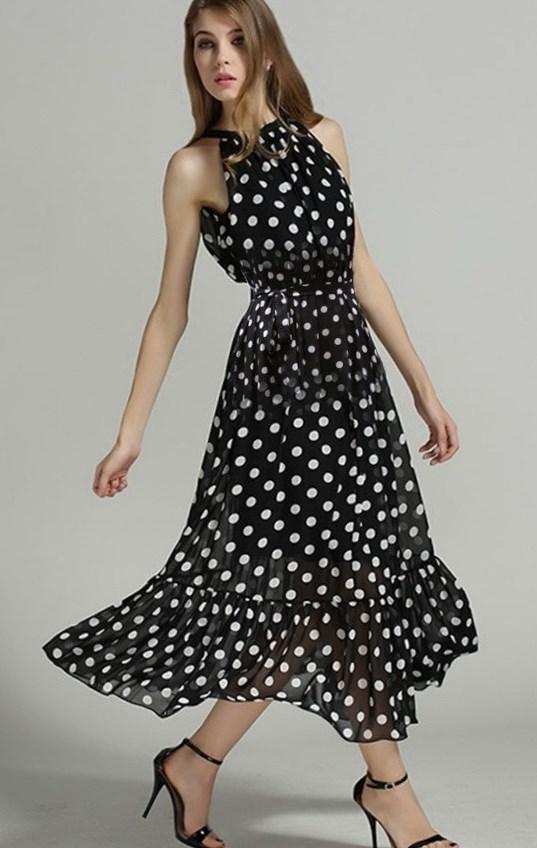 Plus Size Black And White Polka Dot Dress Pluslook Eu