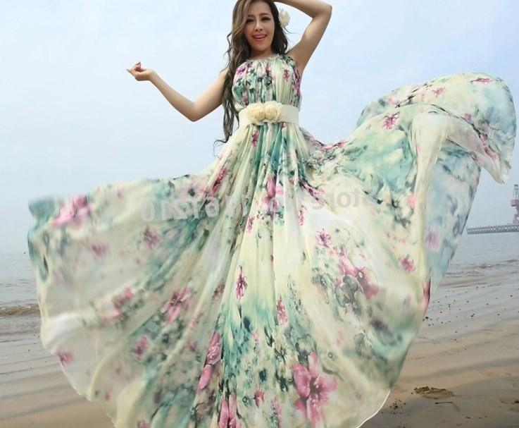 Floral print chiffon long dresses plus size