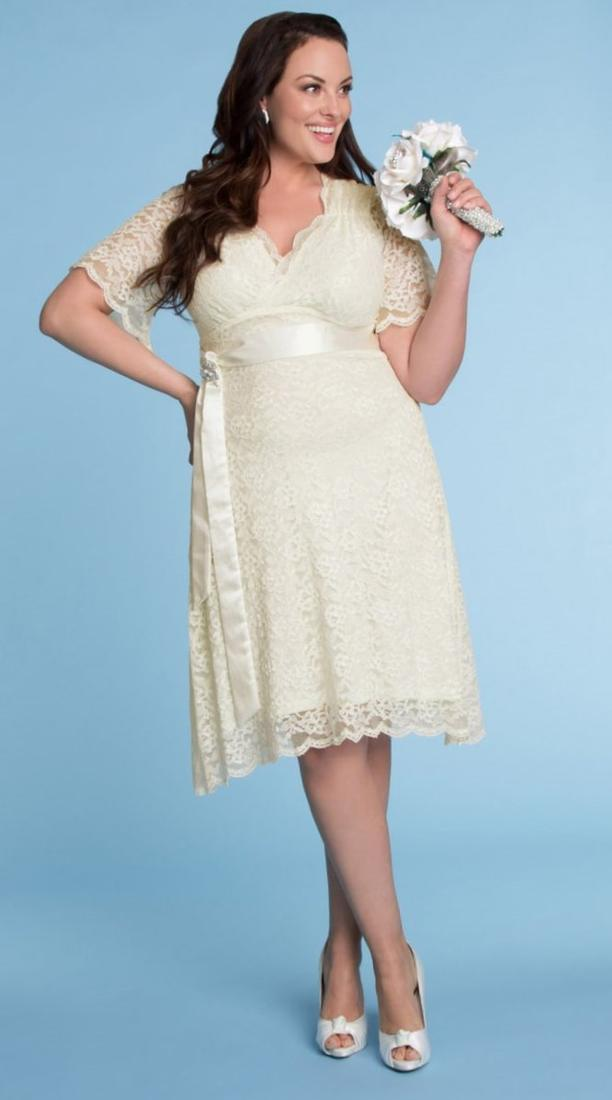 White knee length lace dresses with sleeves