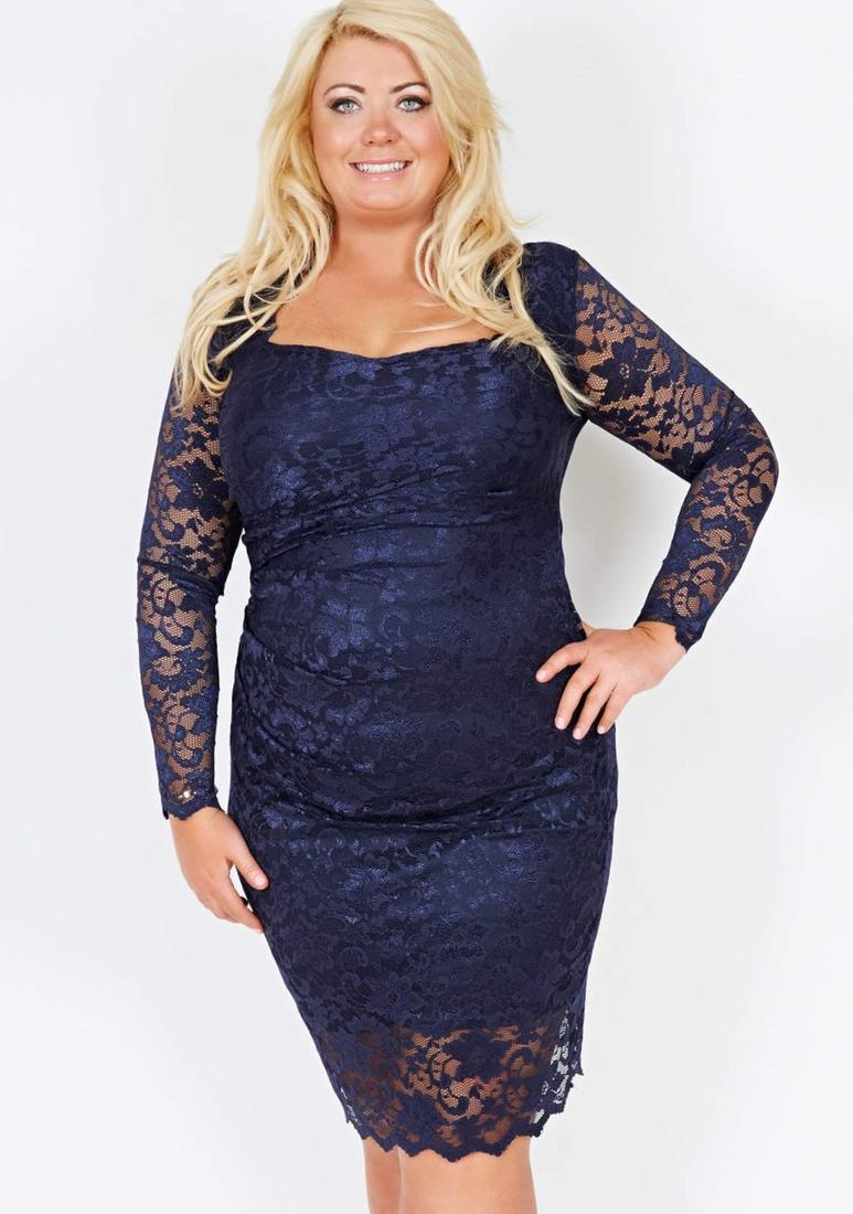 Plus Size Blue Lace Dress Pluslook Eu Collection