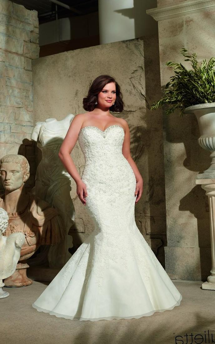 Plus Size 2017 White Ivory Organza Mermaid Fitted Sheer Wedding Gowns Custom Make Sweep Train Appliques