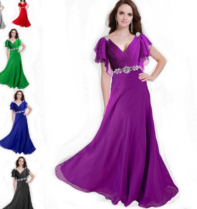 ZJ0097 V neck with sleeve red purple green silver coral elegant party maxi plus size evening