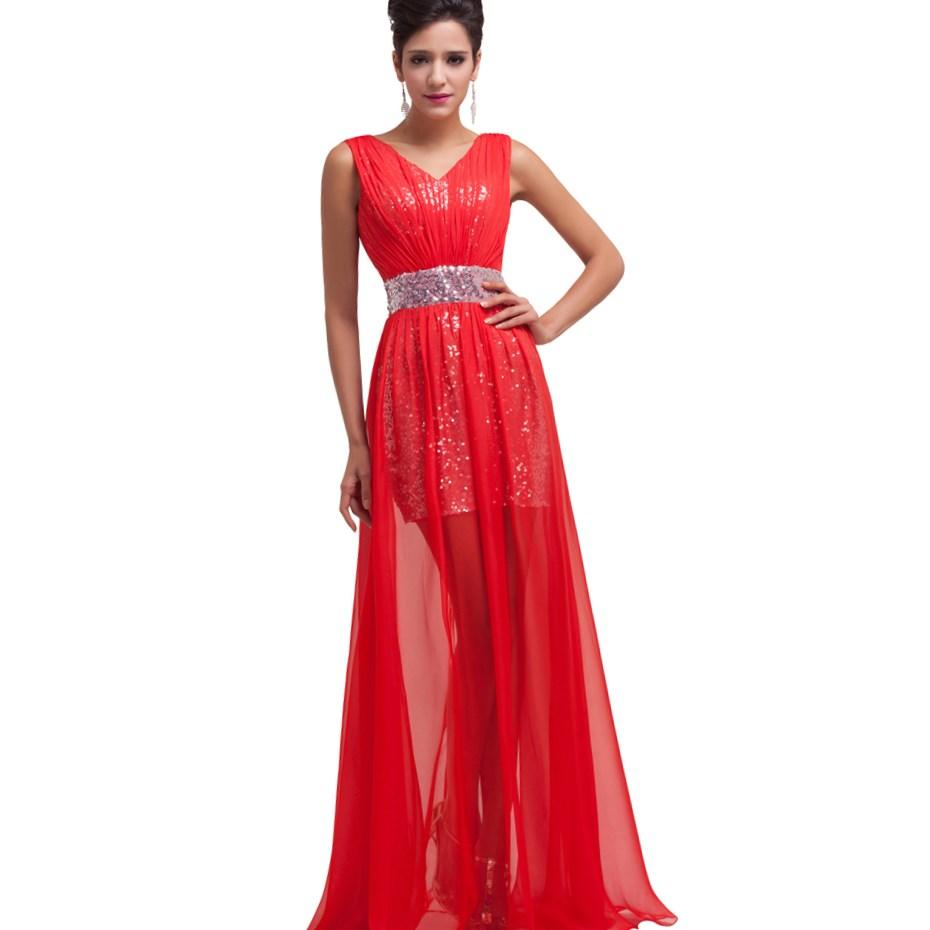 Plus Size Empire Women Evening Dress Designer 2017 Red Sheer Long Sleeve Prom Gowns Lace Vestidos