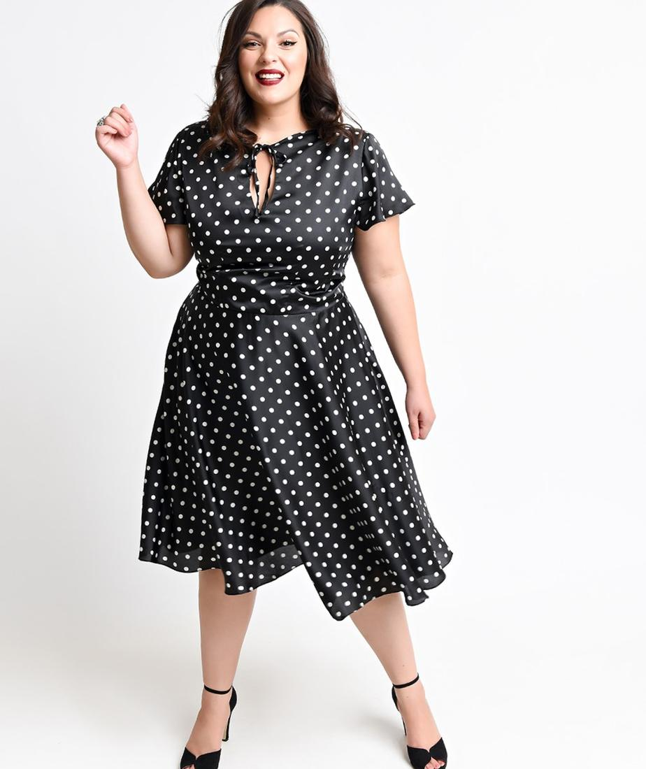 Plus Size Hell Bunny 1940s Style Tan Short Sleeve Floral Holly Swing Dress