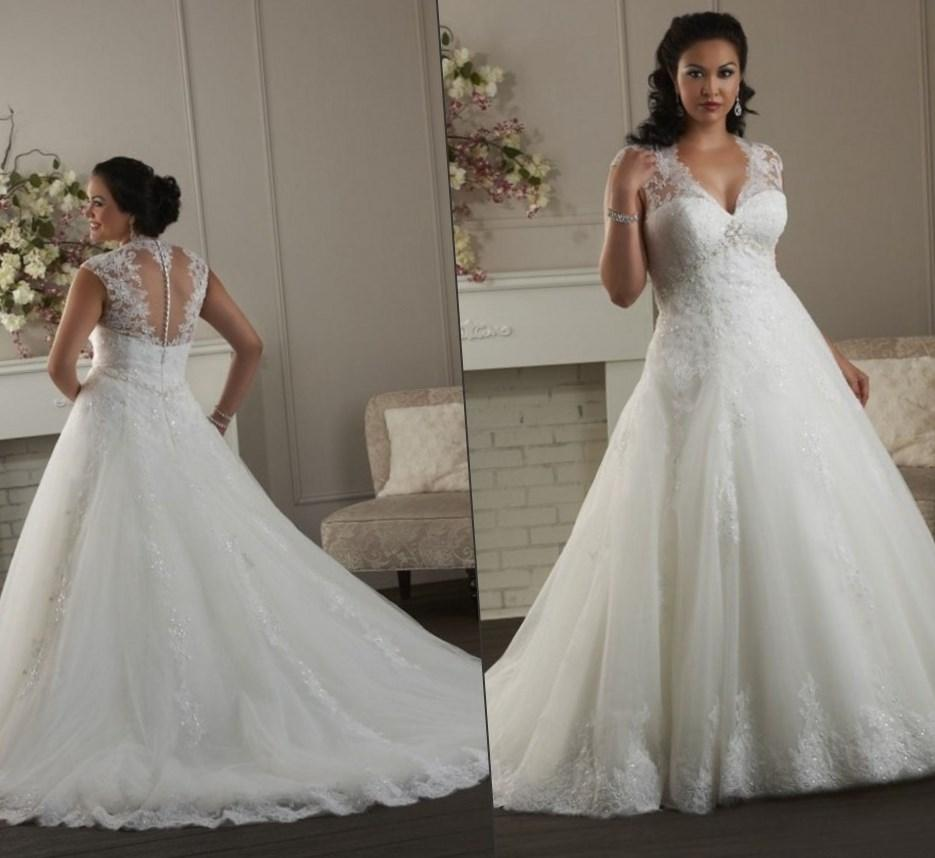 Ball Gown Plus Size Wedding Dresses 2017 Organza Sexy V-neck Cap Sleeves Lace Bride