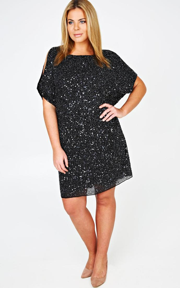 Black Chiffon Fully Embellished Dress With Cold Shoulder Detail