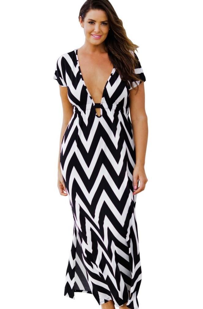Chevron stripe dress plus size