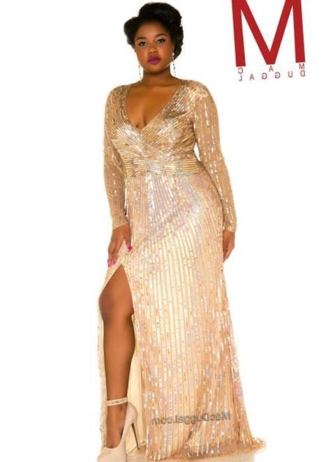 Plus Size Gold Prom Dresses