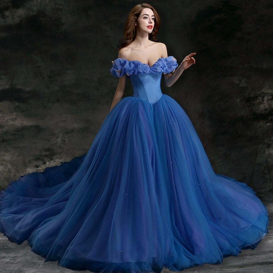 Blue plus size wedding dresses collection for Wedding dresses with a little color