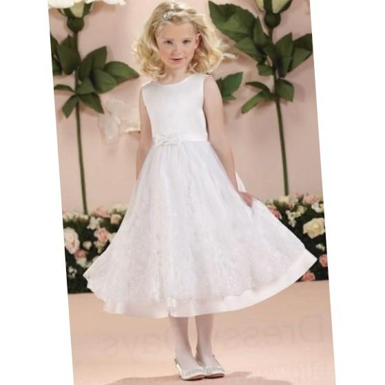 Plus Size First Communion Dress with Satin Bow Waist and Floral Appliqued Skirt