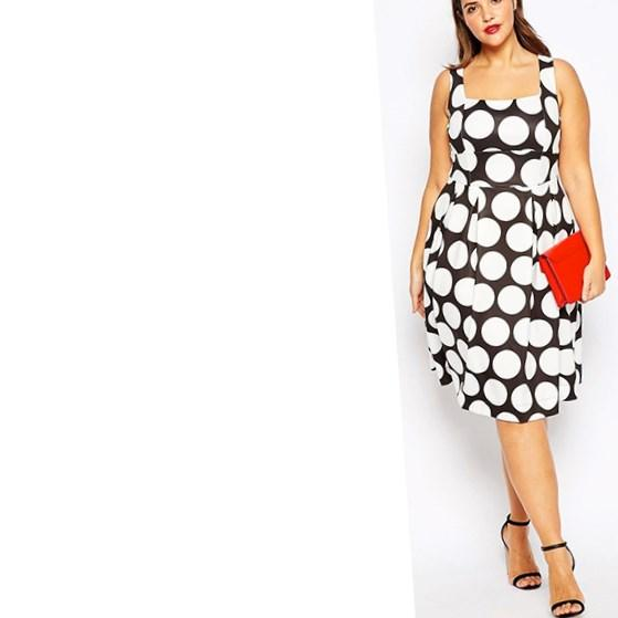 Plus Size Dress, with polka dots in maxi length