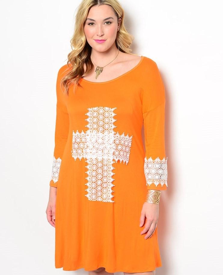 orange plus size wrap summer dresses 2018