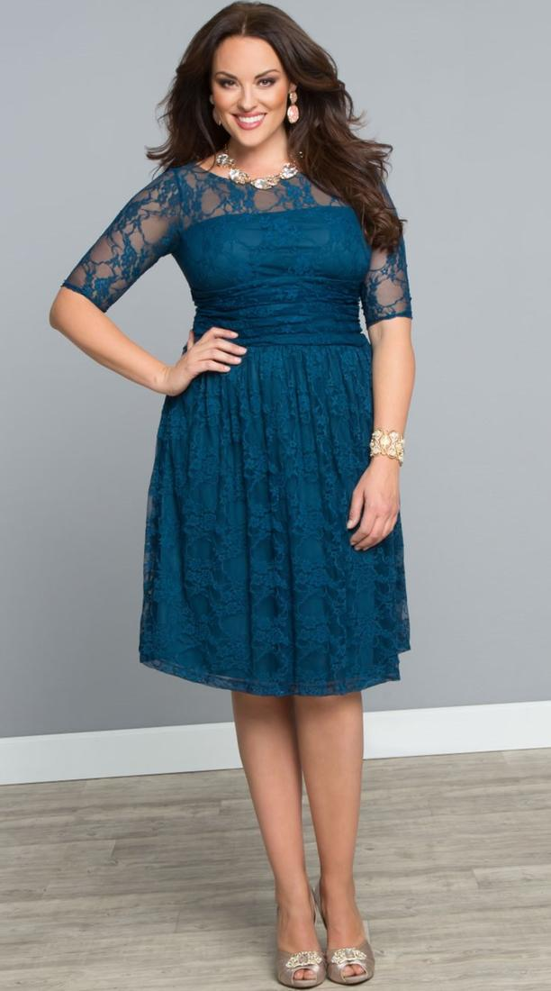 Love this beautiful shade of purple in the Plus Size Luna Lace Dress by Kiyonna.