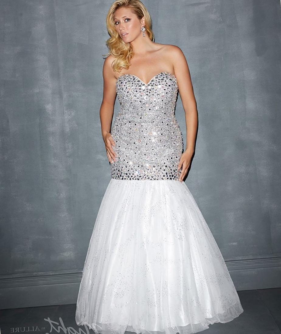 Night Moves by Allure 2017 Prom Dresses - White Bauble  Tulle Mermaid Plus Size Prom