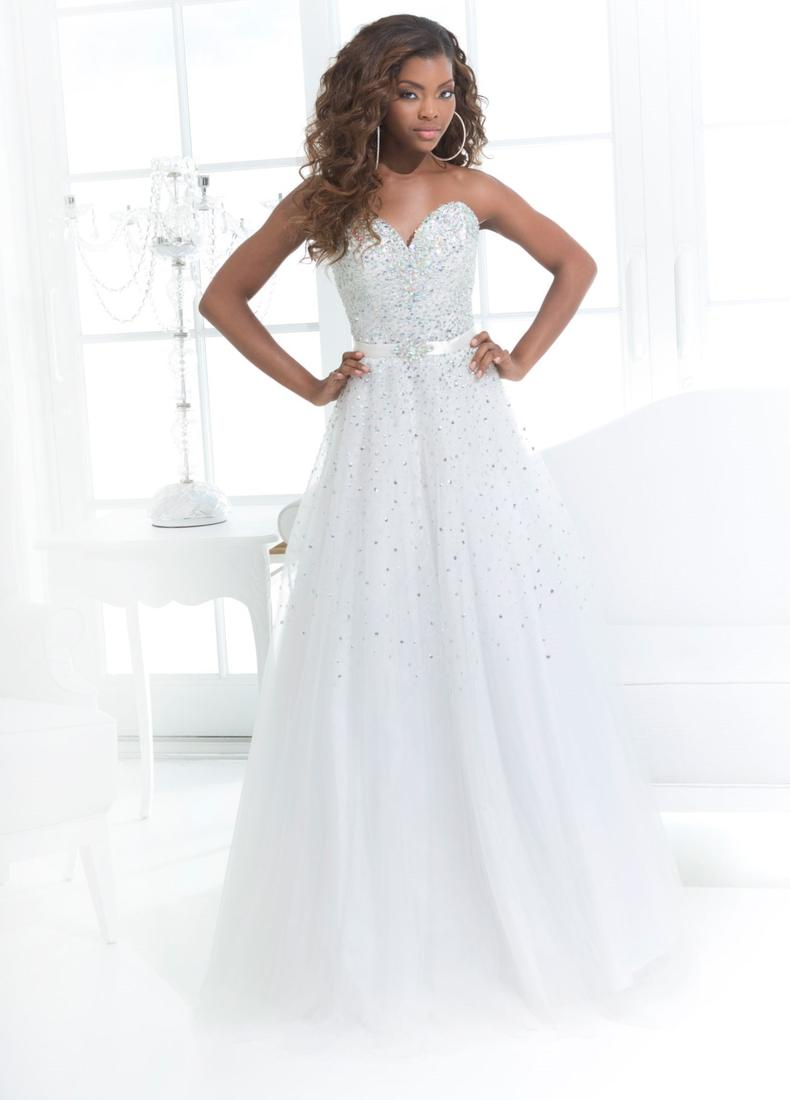 Preorder - Sydneys Closet TE1610 White Gold Beaded Plus Size Chiffon Ball Gown 2017 Prom Dresses