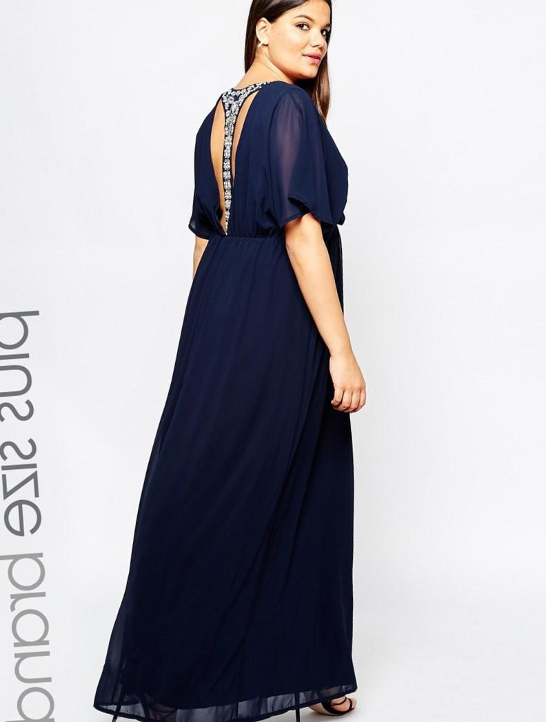 Image 1 of Club L Plus Size Maxi Dress With T Bar Embellished Back