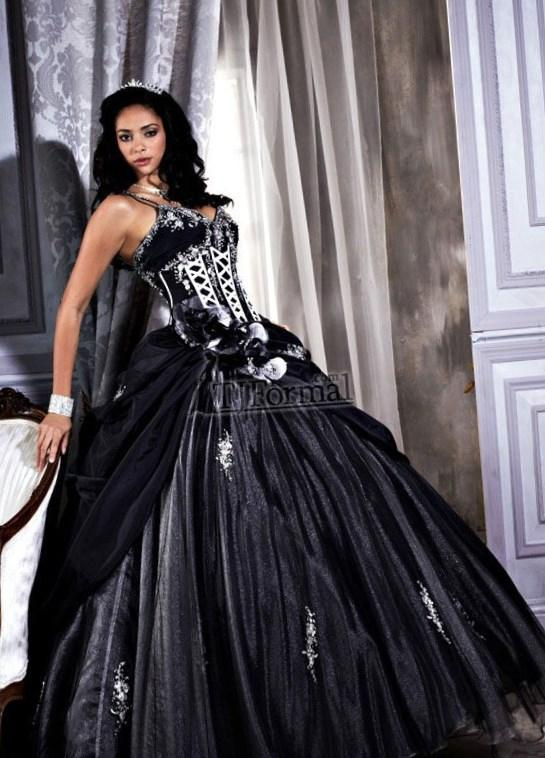 Black and white wedding dress plus size for Black tea length wedding dress