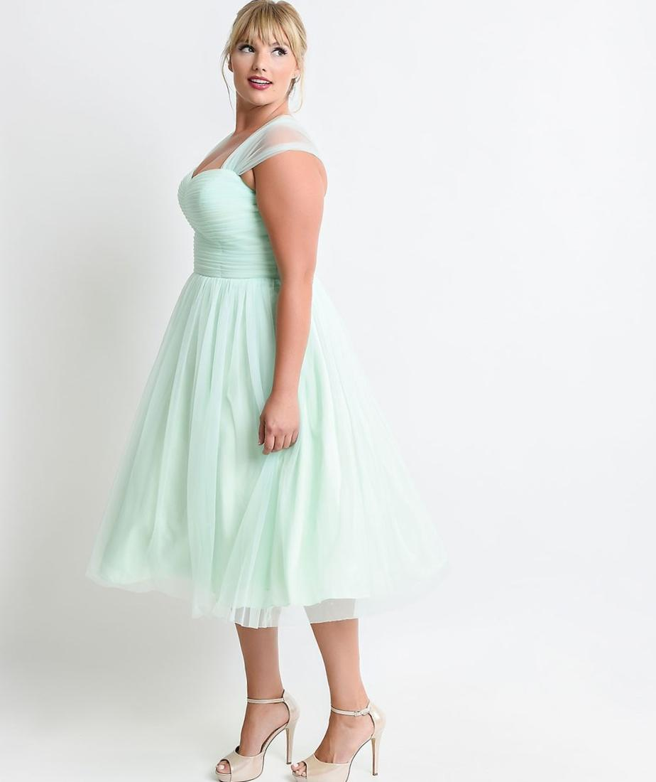More Views. Unique Vintage Plus Size Mint Green Garden State Mesh Cocktail Dress