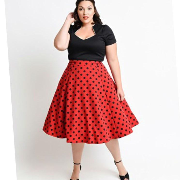 Stunning Red And Black Polka Dot Dress Plus Size Images ...