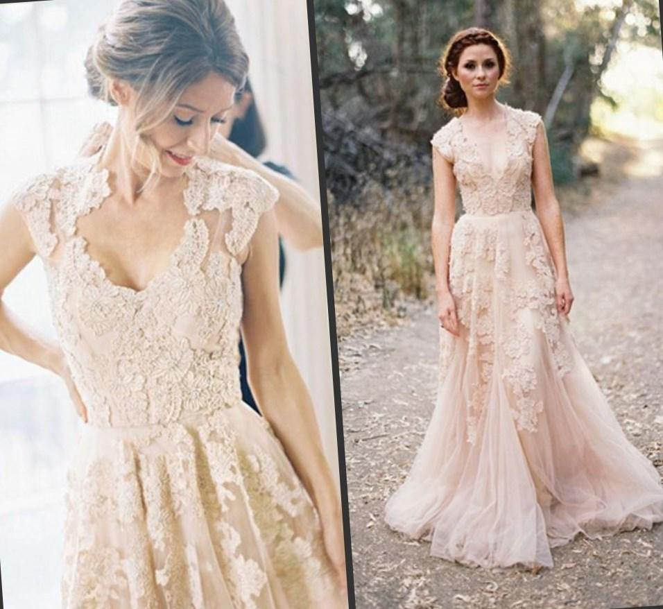 2017 New Fashion A Line Sweetheart Simple Tulle Blush Wedding Dress Peach Pink Colored Cheap