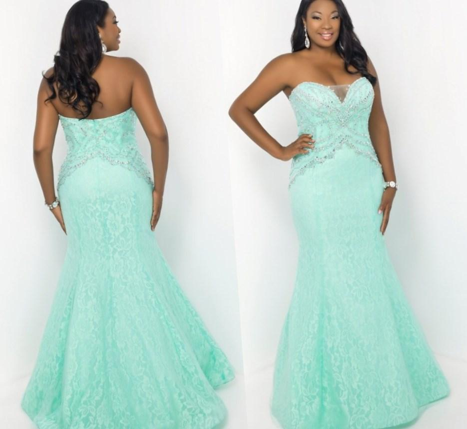 Mermaid Lace Plus Size Prom Dresses With Crystal Cyan Gowns Sexy Long Formal Party