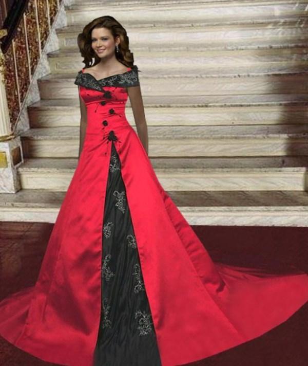 New Style Black Gothic Plus Sizes Wedding Dresses With: Plus Size Red Wedding Dresses