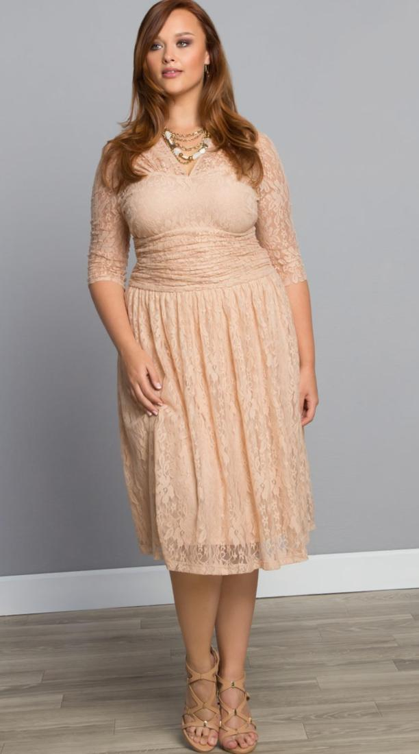 Ax paris Plus Size Bodycon Dress With Lace Panels in Beige (Stone) | Lyst
