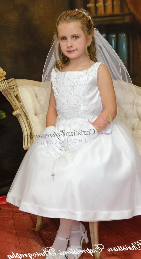 Organza and satin tea length plus size first communion dress with lace bodice