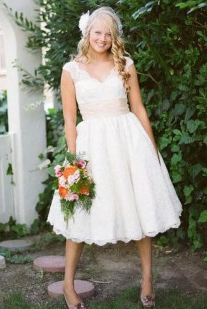 A Line Tea Length Plus Size Wedding Dresses - Cheap Party Dresses
