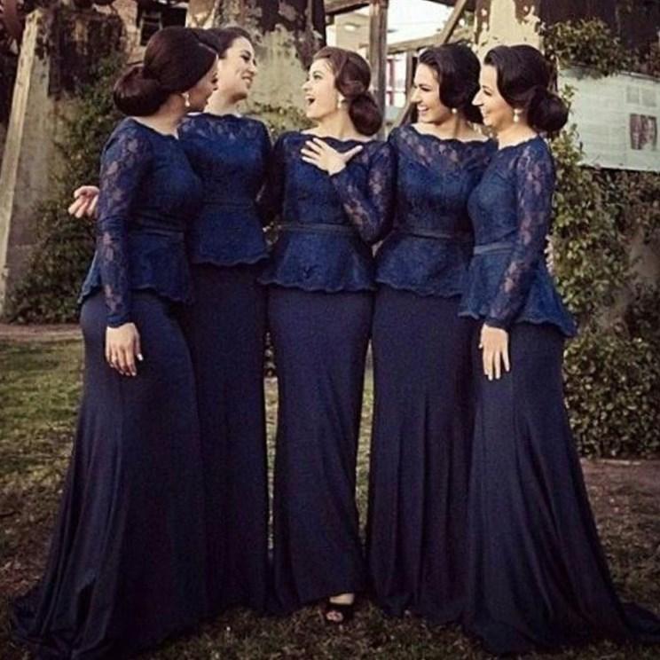 Hot 2017 Long Sleeves Lace Mermaid Bridesmaid Dresses Bateau Floor Length Navy Blue Elegant Plus Size
