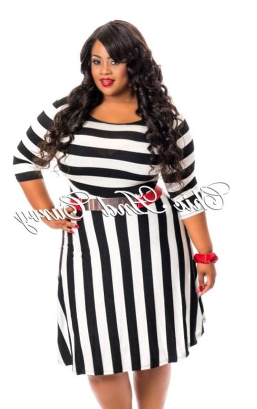 New Arrival New Plus Size Skater Dress with Black and White Stripes available at: http