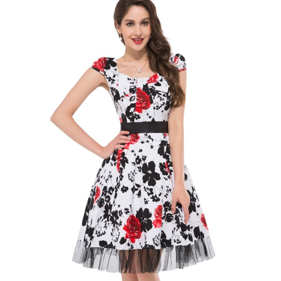 Cheap Price Women Summer Style Dress Plus Size 50s Rockabilly Swing Vintage Retro Dress Causal Party
