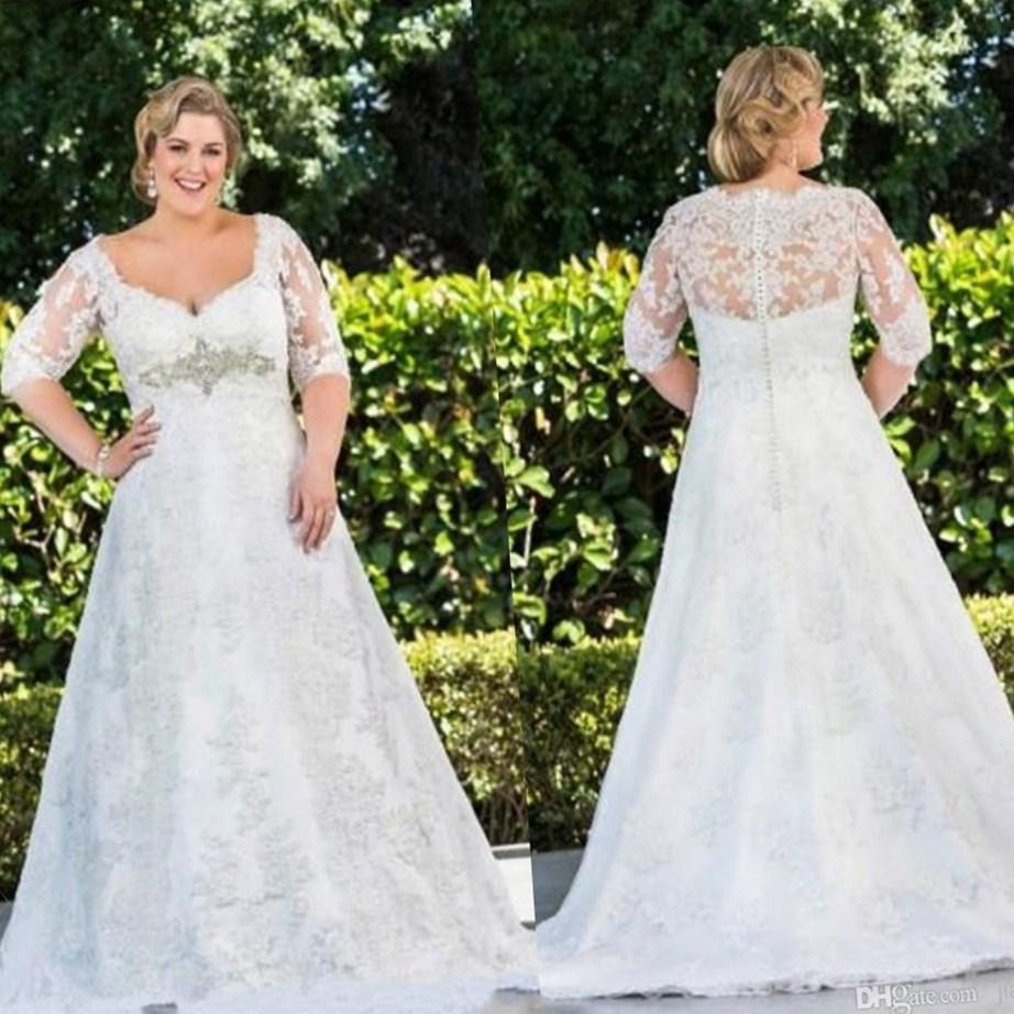 Vintage Knee Length Wedding Dress with Sleeves Sexy V-Neck Ivory Lace Plus Size Vestidos