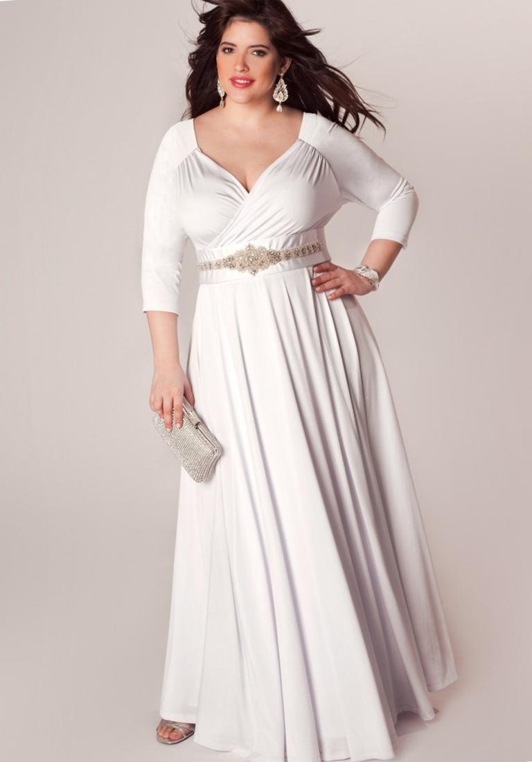 Plus Size White Chiffon Maxi Dress Pluslook Collection