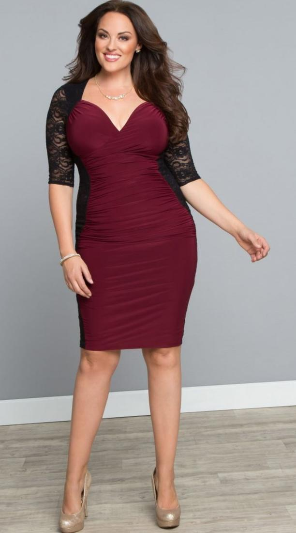 In Black, Marina Plus Size Dress, Cap Sleeve Lace Cocktail Dress - Plus Size