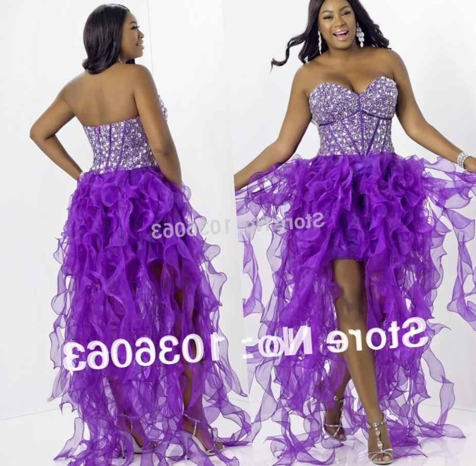 Backless Turquoise Purple High Low Prom Dresses Lace and Ruffles Designer Prom Dress Real Sample