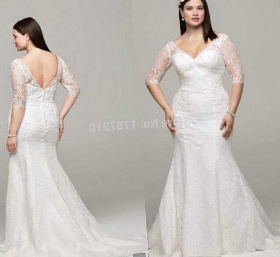 Sweep Train Sweetheart Chic Mermaid Plus Size Wedding Dress With Beading