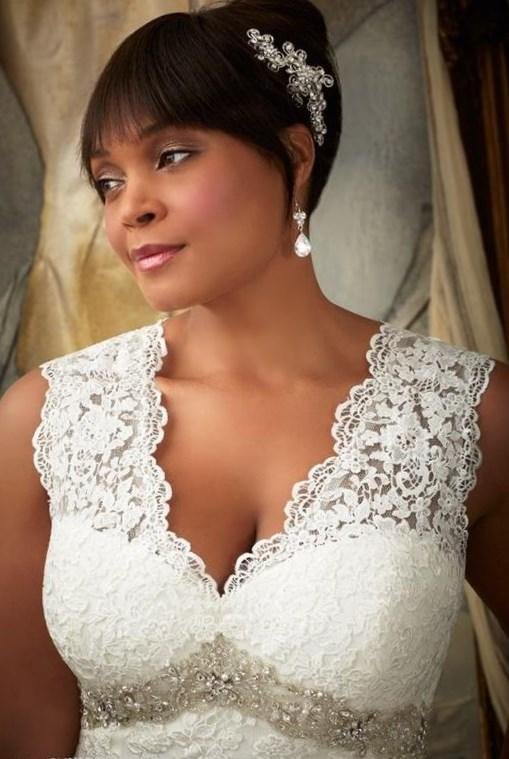 Plus Size Wedding Dress 3194 Alen on Lace Appliqu s and Scalloped Edging Frosted with Beading