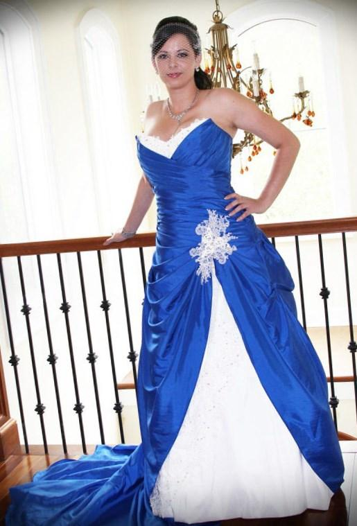 Blue Taffeta Lace Strapless Plus Size Wedding Dress