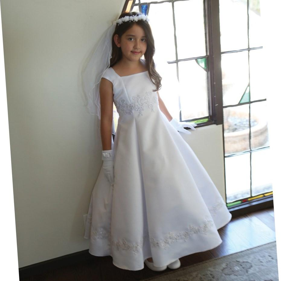 Angels Garment Big Girls White Embroidered Appliques Communion Dress 18