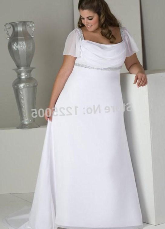 Plus Size Beach Wedding Dress 2017 Straps Pleats Chiffon Bedas Applique Sleeveless A Line Sweep Train