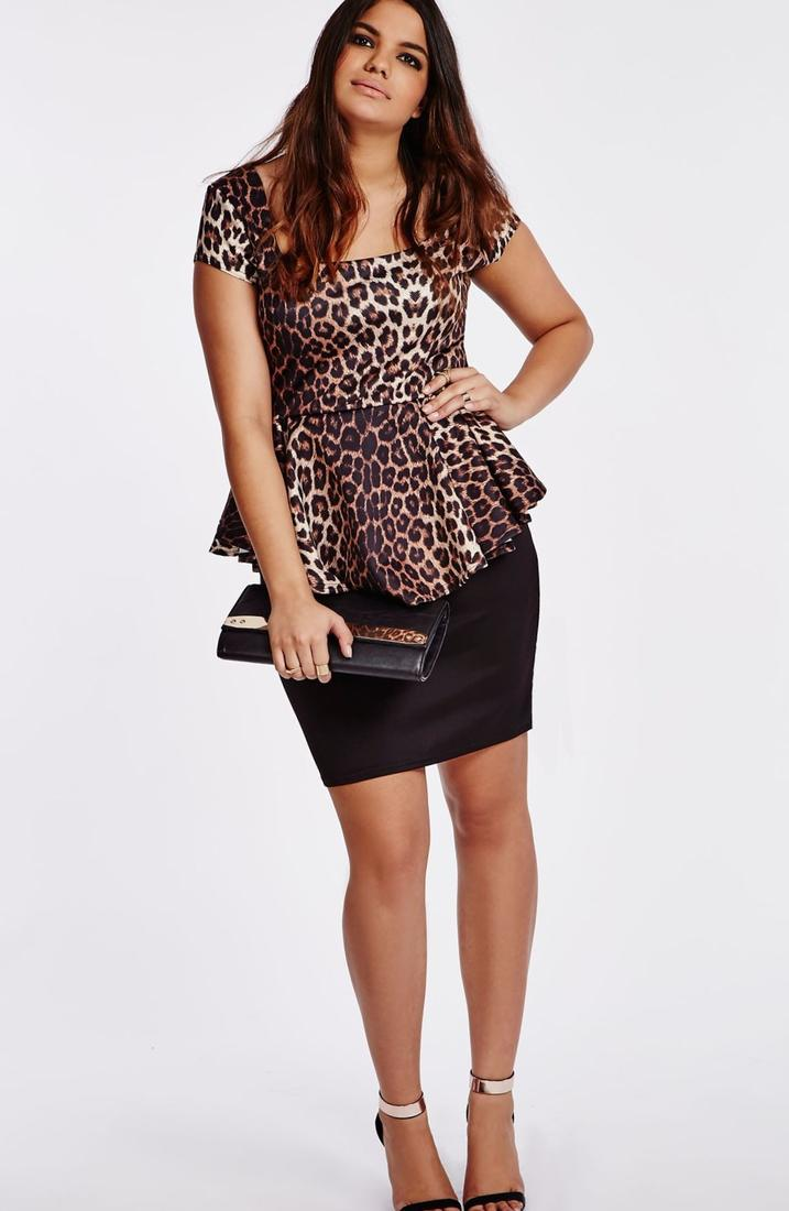 Image 1 of ASOS CURVE Exclusive Bandeau Peplum Dress with Printed Bodice