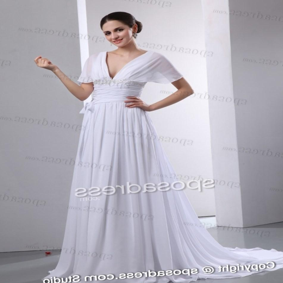 Plus Size Beach Wedding Dresses Cheap With Court Train And Chiffon And Satin Fabric By Vnaix